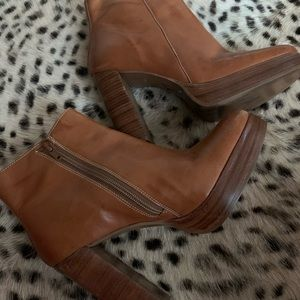 Vintage style leather ankle boots